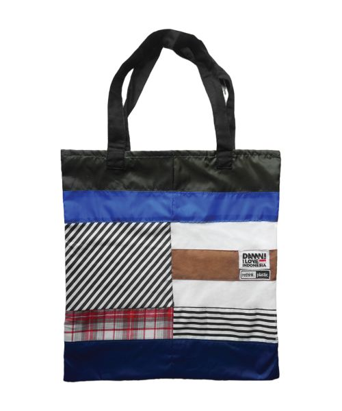 DAMN GREEN TOTE BAG BROWN PANEL