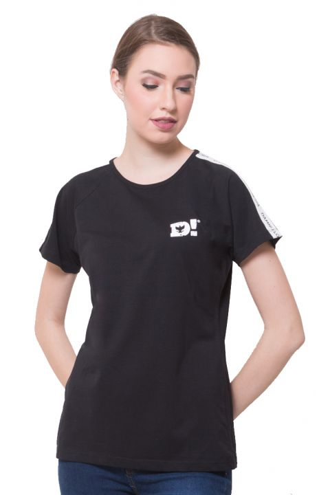 LINE SS RAGLAN SIGN BLACK FEMALE